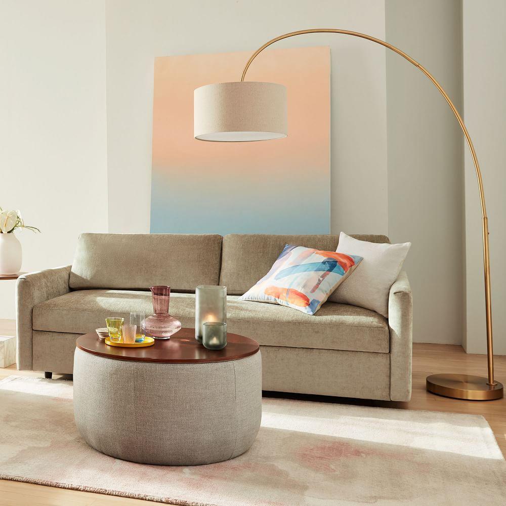 Overarching Linen Shade Floor Lamp Antique Brass