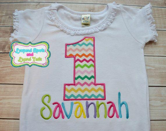 Chevron Rainbow Birthday Girl Personalized by LeopardDIVAS on Etsy, $22.00