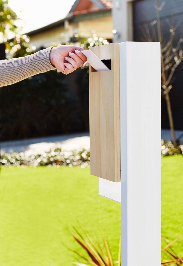 designer briefkasten aus holz und stahl in modernem styling for new house pinterest. Black Bedroom Furniture Sets. Home Design Ideas