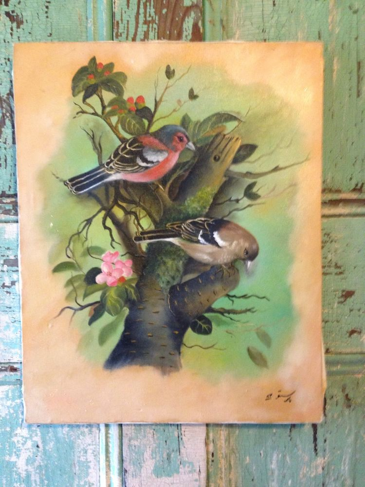 shabby cottage chic bird painting   found on eBay for $59.99
