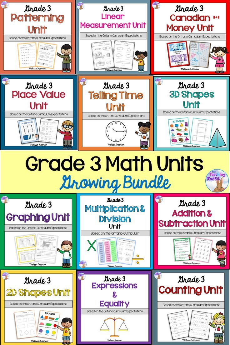 This Grade 3 Math Bundle Includes 12 Units Based On The Ontario Curriculum Counting Place Value Patterni 3rd Grade Math Math Patterns Elementary School Math [ 1104 x 736 Pixel ]
