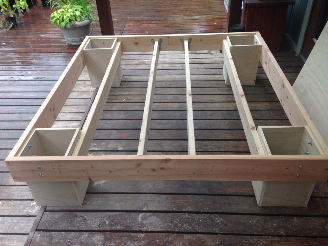 stage 1 of our homemade sturdy king size bed frame - Sturdy King Size Bed Frame