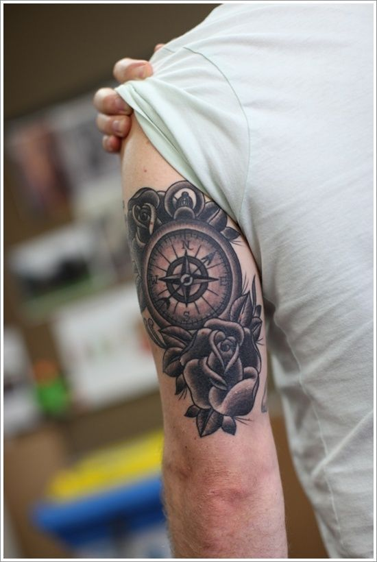 Tattoo Ideas For Men With Meaning In 2020 Tricep Tattoos Compass Tattoo Design Compass Tattoo