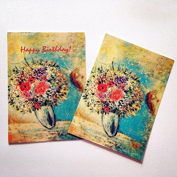 Fine Art Valentine Card Birthday Angel With Flowers And Vase Blank Celebration