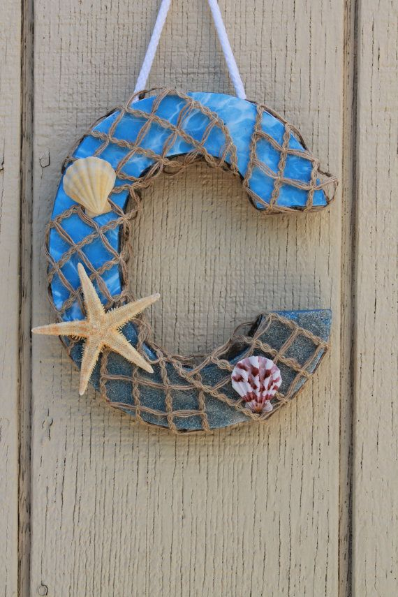 Beach Theme Wood Letter Nautical Bathroom Decor Letter