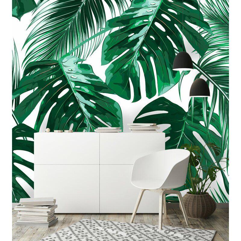 Joana Removable Tropical Palm Leaves 7 92 L X 150 W Peel And Stick Wallpaper Roll Peel And Stick Wallpaper Palm Leaves Mural Wallpaper