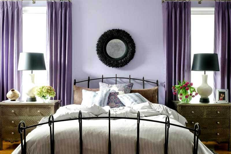 Room · Light Purple Bedroom With White Bedding And Black Accents