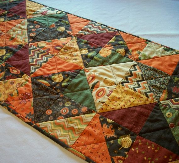 Fall Table Runner Autumn Hello Fall Handmade Quilted #hellofall
