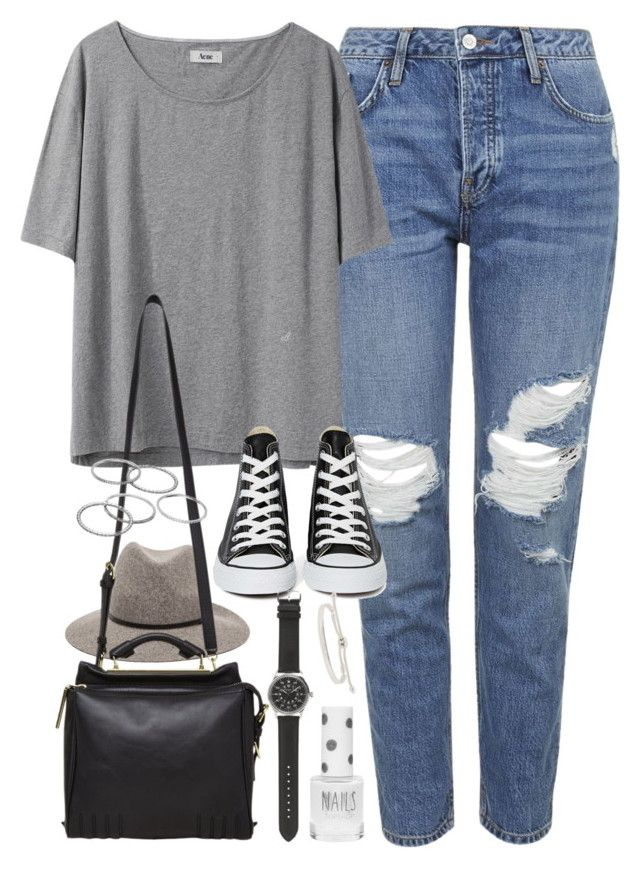 """Outfit for a casual day with boyfriend jeans"" by ferned on Polyvore featuring Topshop, Acne Studios, Janessa Leone, Converse, 3.1 Phillip Lim, Apt. 9, J.Crew and Monica Vinader"