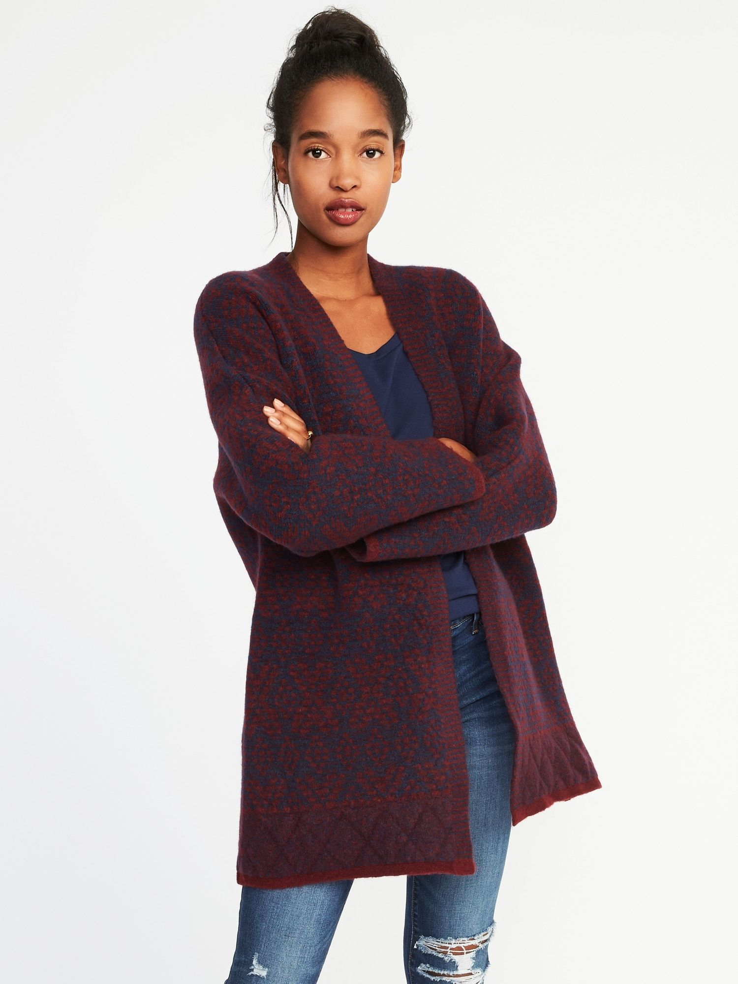58f879dea1e368 Patterned Open Front Cardi-Coat for Women | Old Navy | Clothes in ...