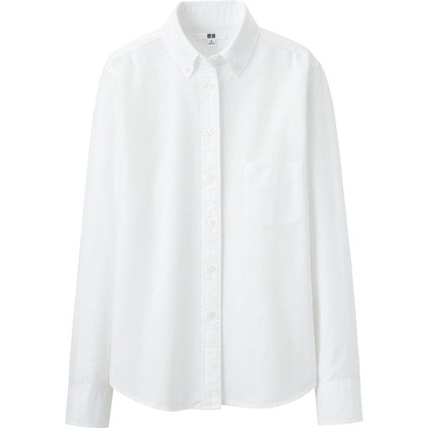 UNIQLO Oxford Long Sleeve Shirt ($26) ❤ liked on Polyvore featuring tops, shirts, blouses, long sleeves, long-sleeve shirt, white boyfriend shirt, fitted shirts, boyfriend shirt and long sleeve tops