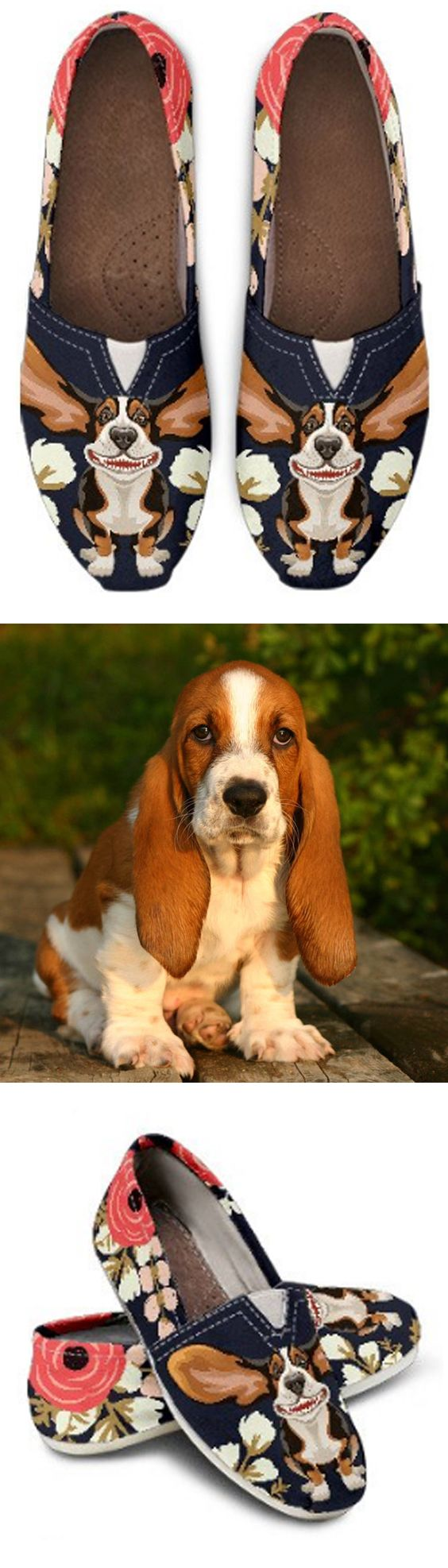 Floral Hound Casual Shoes | Basset hound, Shoe bag and Socks