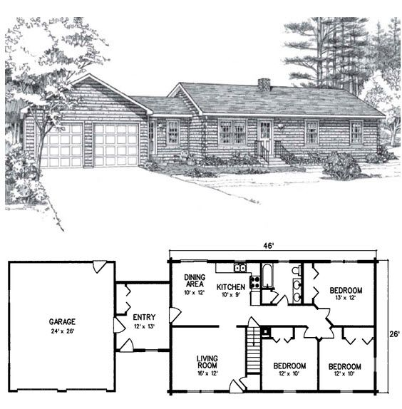 3 Bed 1 Bath 1 Level 1564 Square Feet  Spacious yet affordable, this three-bedroom ranch blends the classic beauty of log home construction with the modern convenience of a contemporary design. The Redington's attached garage is big enough for two cars, and there is extra storage in the mudroom.