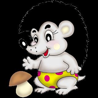 Мультфильм Ребенок Ежик с грибами   Igel