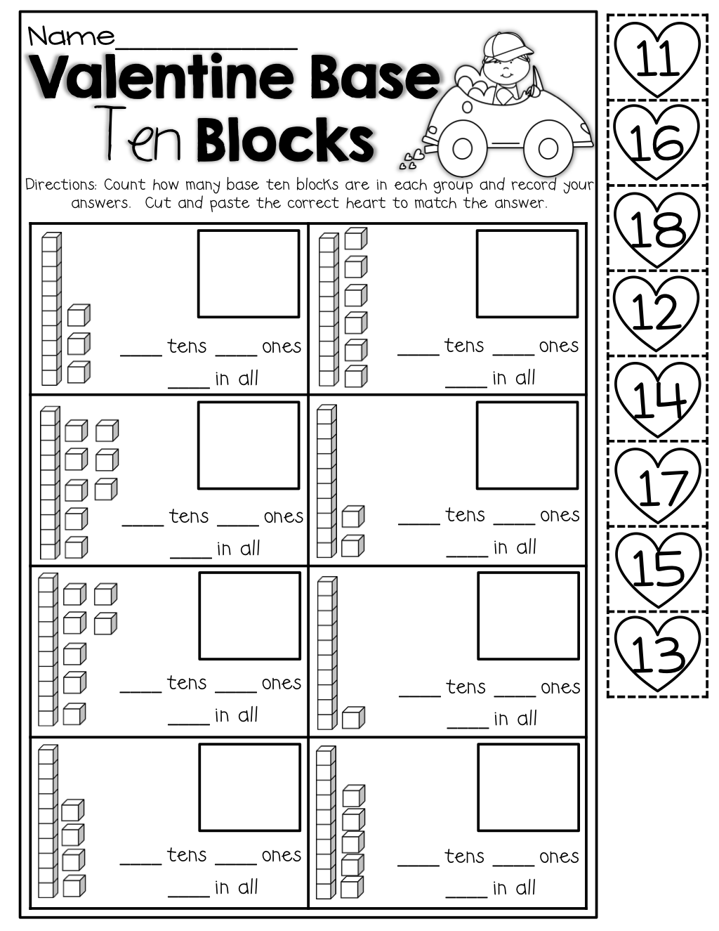 Valentine Base Ten Blocks cut and paste – Base Ten Blocks Worksheets