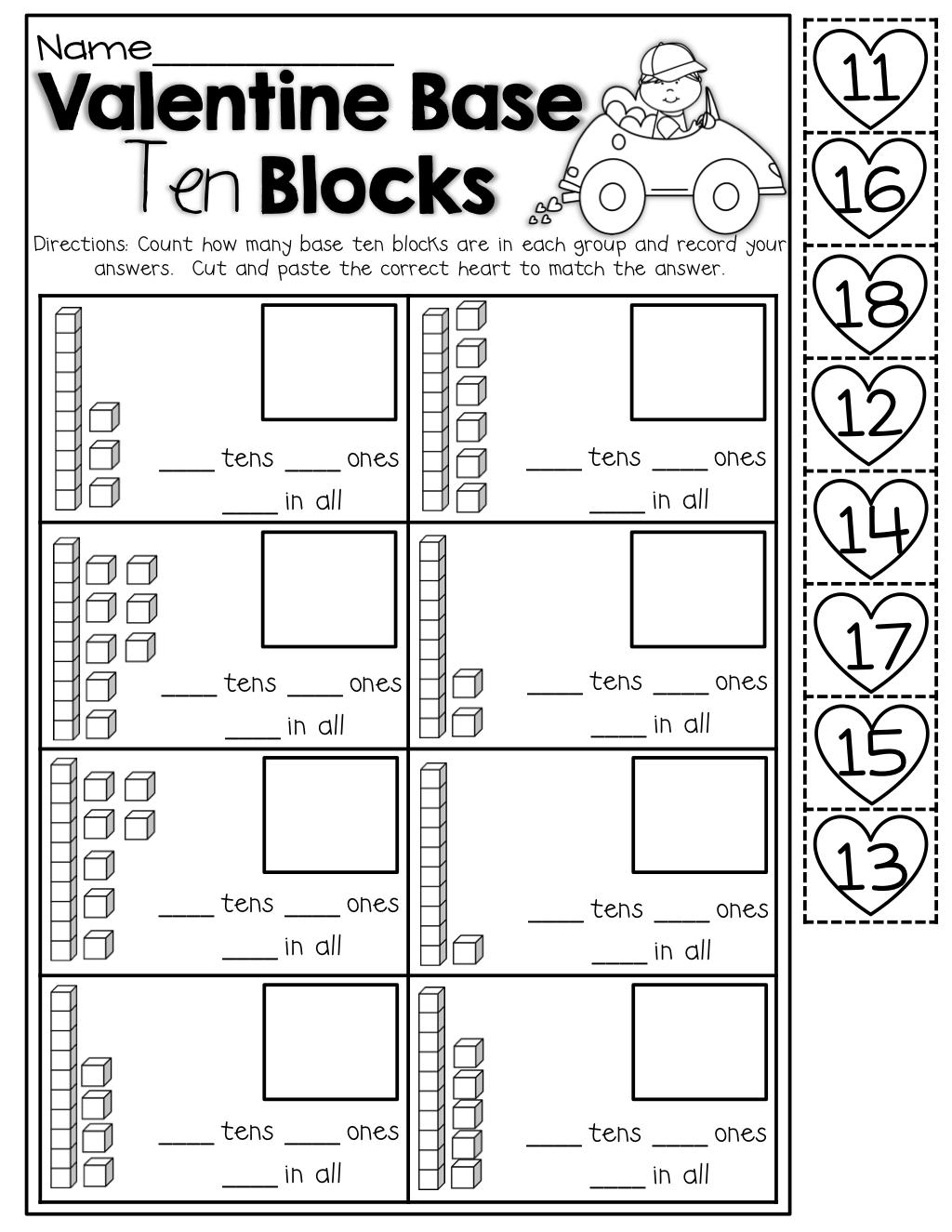 Base Ten Blocks Cut And Paste