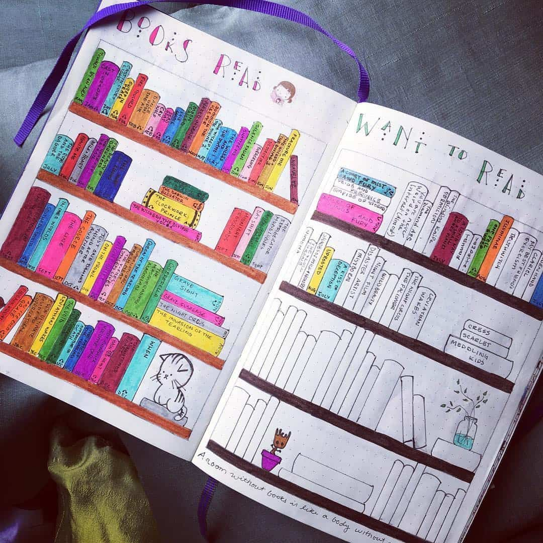 """Katherine on Instagram: """"I met my 2017 goal of reading enough books to fill the bookshelf in my #bulletjournal! I'll have to get started on a new one for this year…"""""""