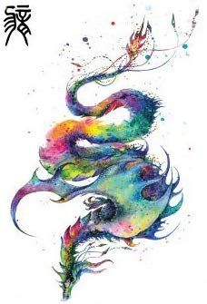 Photo of Oottati Old School Color Ink Dragon Zodiac Arm Temporary Tattoo
