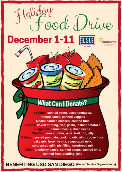 Anacomp Inc Is Hosting A Holiday Food Drive Benefitting Uso San Diego Food Drive Holiday Recipes Food