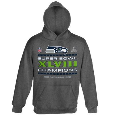 e6fae77d1 Seattle Seahawks Super Bowl XLVIII Champions Youth Trophy Collection Locker  Room Pullover Hoodie - Gray