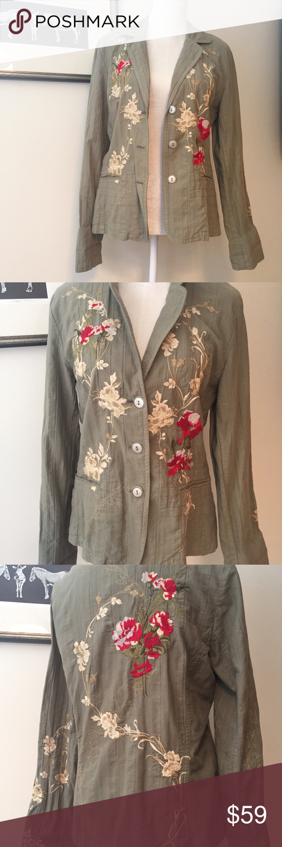 """Johnny Was Embroidered khaki blazer Large Flawless preloved condition. Textured pale olive blazer with silver tone buttons and embroidery. Pockets still sewn shut. 100% cotton. Size large. 17.5"""" shoulders. 25"""" sleeve. 24.5"""" length. 40"""" max bust. Johnny Was Jackets & Coats Blazers"""
