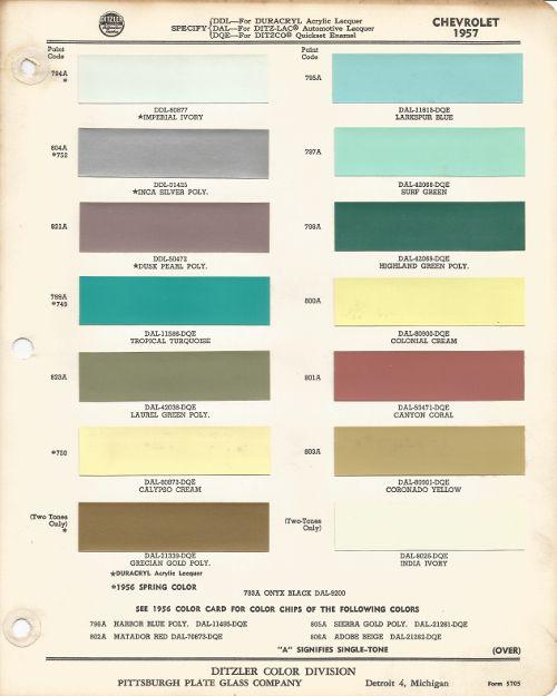 1957 Chevrolet Bel Air Colonial Cream Code 800a Car Paint