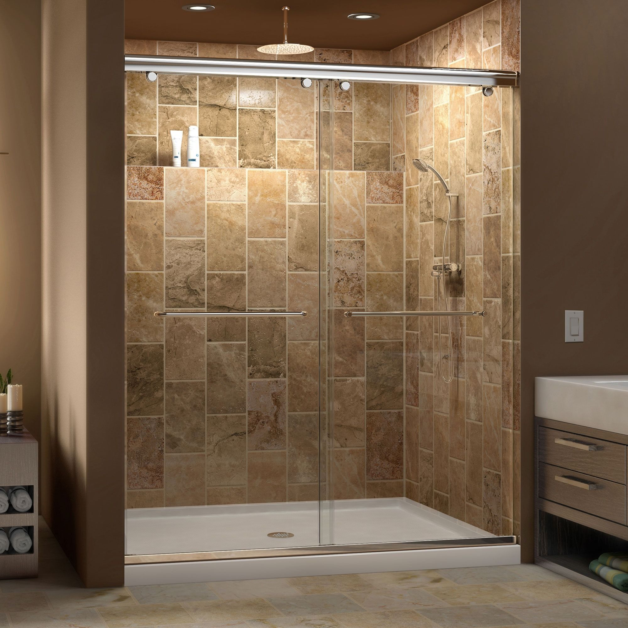 DreamLine Charisma Frameless Bypass Sliding Shower Door And SlimLine 34 X  60 Inch Single Threshold Shower Base