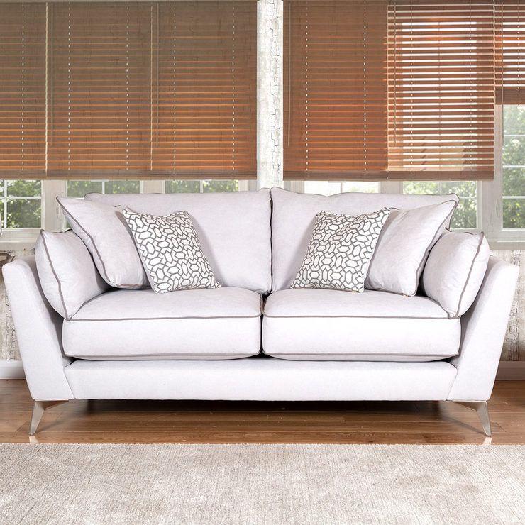 Roko 2 Seater Cosmo Silver Fabric Sofa Fabric Sofa Plain Cushions Seater