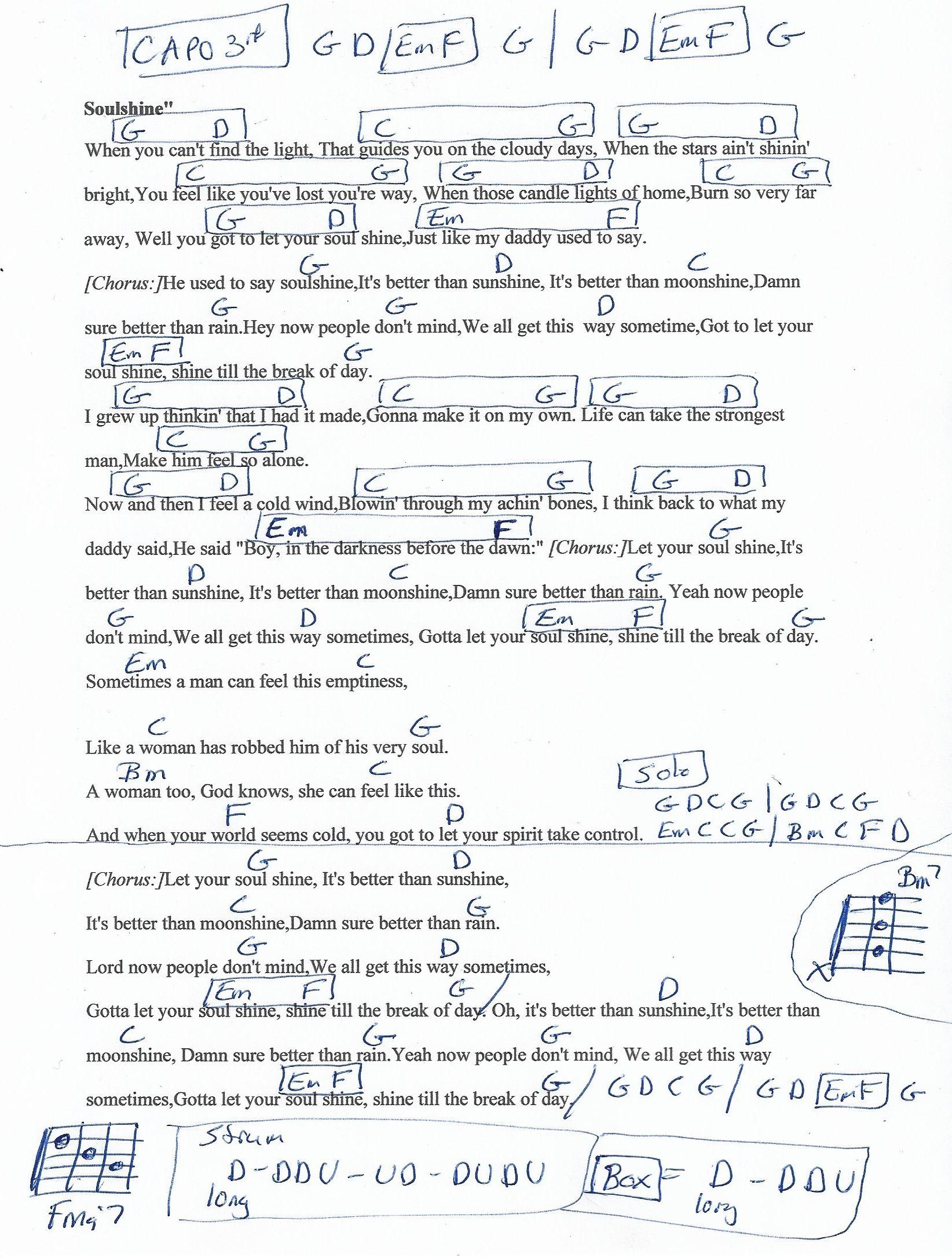 Soulshine Allman Brothers Guitar Chord Chart Capo 3rd Fret