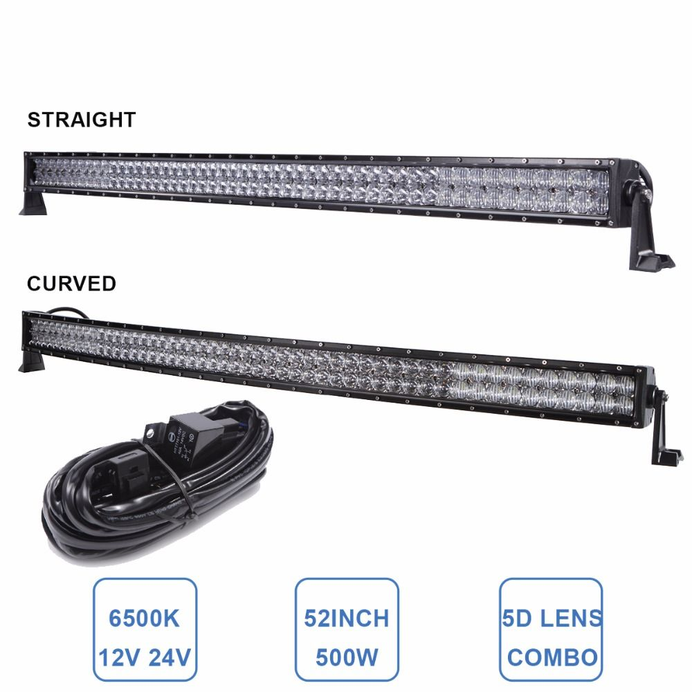 Offroad 52 500w Led Light Bar Straight Cuved Suv Atv Camping 4x4 4wd Boat Truck Car 4x4 4wd Wagon Auto Headlight Led Wo Camping 4x4 Car Headlights Car Lights