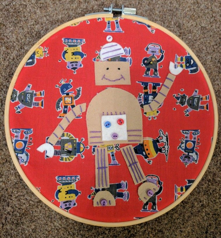 Robot fabric hoop - a whimsical wall decoration. £12 | Examples of ...