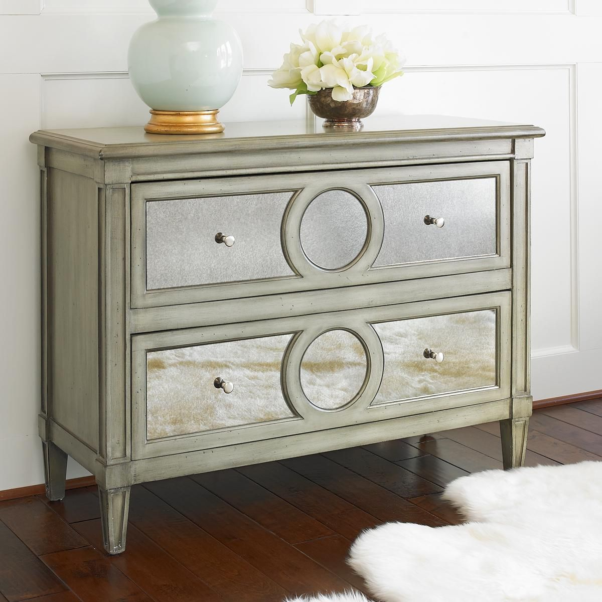 Silver mirror circle chest finds pinterest paint finishes