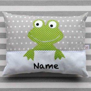 namenskissen frosch grau gr n baby geschenke namenskissen und kinder kissen. Black Bedroom Furniture Sets. Home Design Ideas