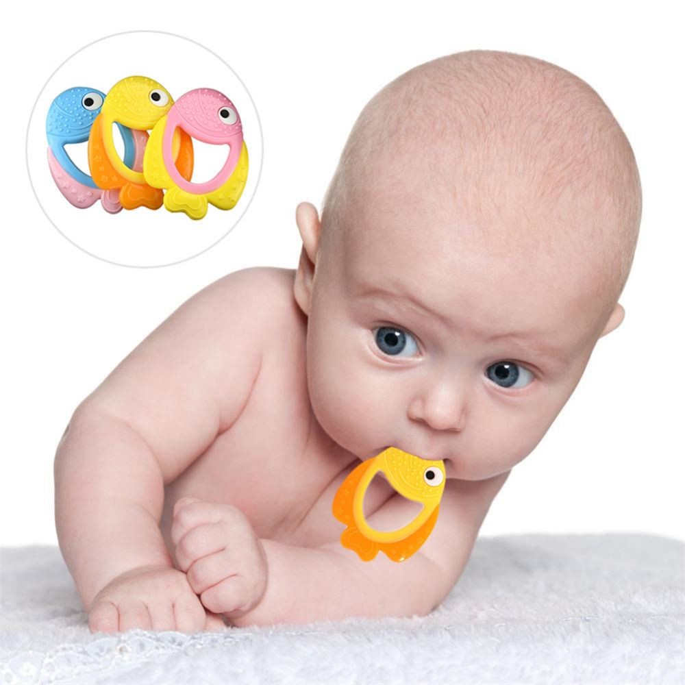 Baby toys images cartoon  New Baby Silicone Teether Safety DIY Supplies Clown Fish Shape Baby