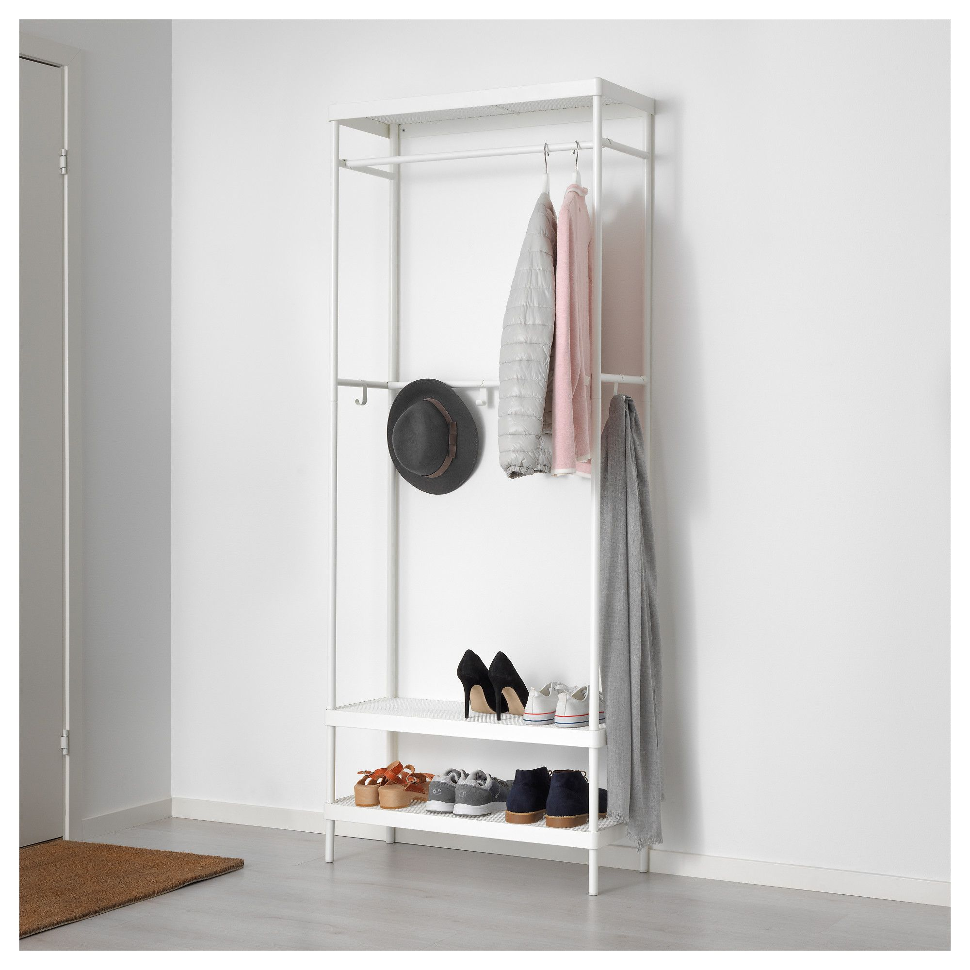 MACKAPÄR Coat rack with shoe storage unit 78x193 cm | Shoe storage ...