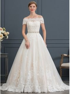 1fa0b8e60c0 Ball-Gown Princess Off-the-Shoulder Court Train Tulle Wedding Dress With Beading  Sequins (002171933)