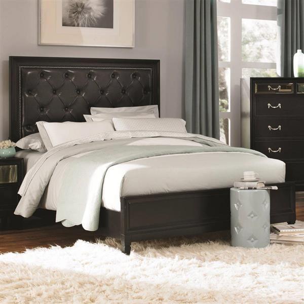 Devine Black Wood Cal King Size Panel Bed Black Bedrooms Furniture