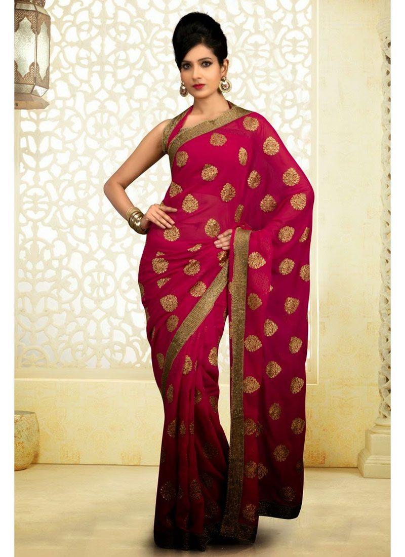 Wine Chiffon Party Wear Saree Saree Latest Indian Saree Indian Sarees Online
