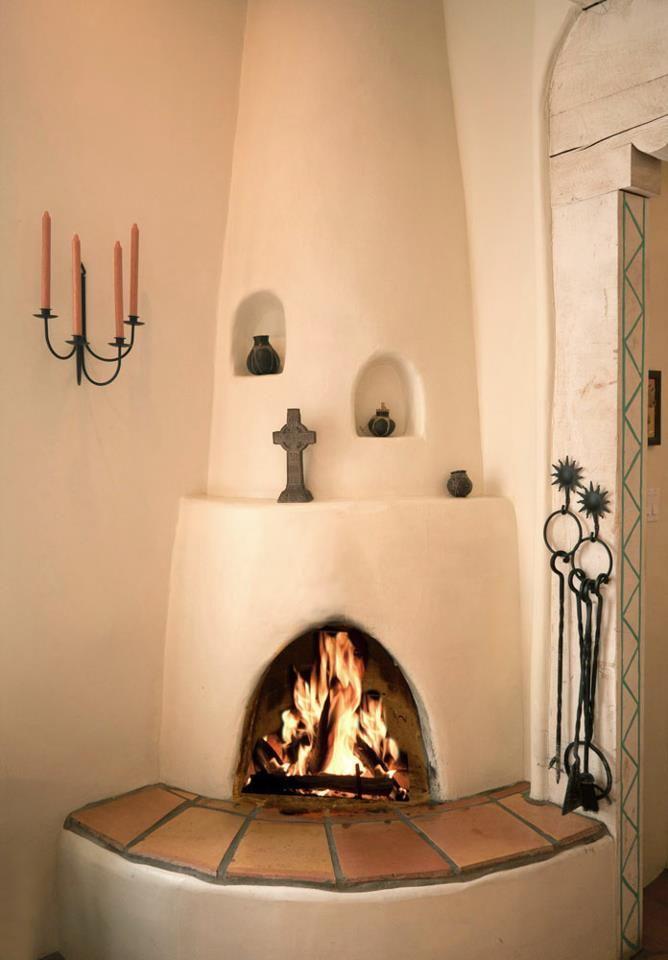 Corner Adobe Fireplace Southwest House Southwest Living