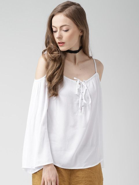 a70dbd9e Buy FOREVER 21 White Cold Shoulder Top - Tops for Women | Myntra ...