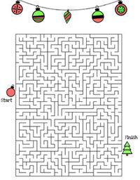 Free printable Christmas maze puzzles for kids from