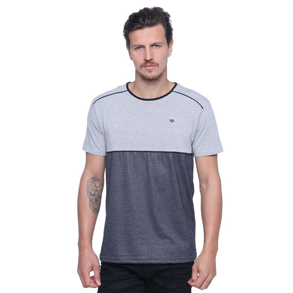 Camiseta Masculina Detalhe Viés - Damyller  00fec604f46