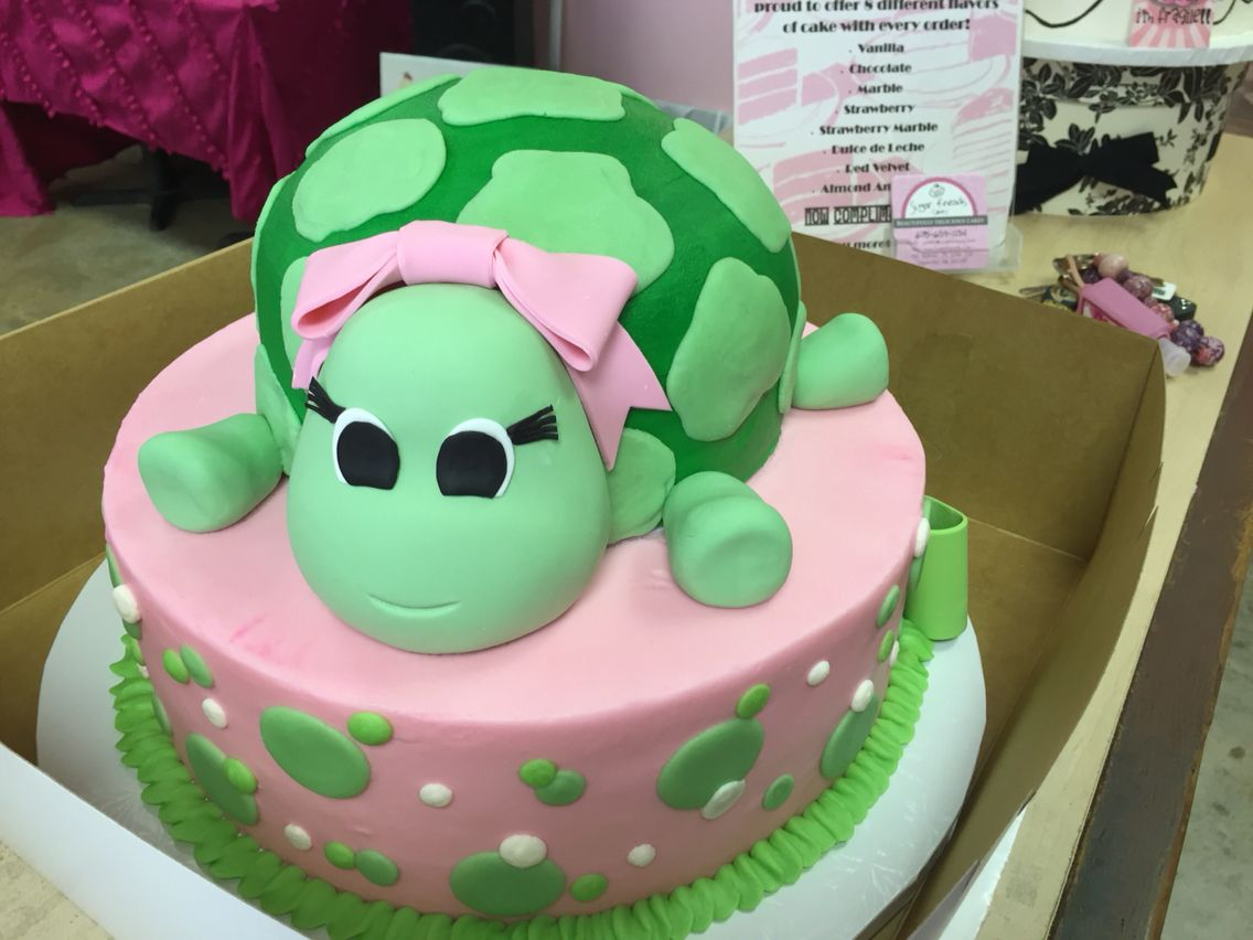Turtle Baby Shower Cake For Girls
