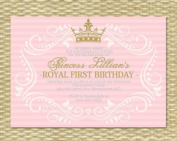 Princess First Birthday Invitation Royal Baby Girl Shower – Princess 1st Birthday Invitations