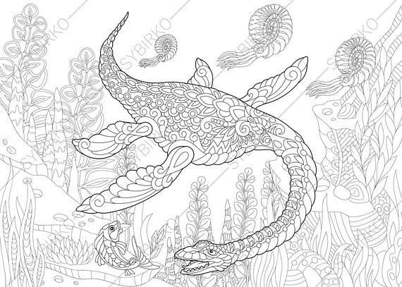 Plesiosaurus Dinosaur Dino Coloring Pages Animal Coloring Etsy In 2021 Dinosaur Coloring Pages Animal Coloring Pages Animal Coloring Books