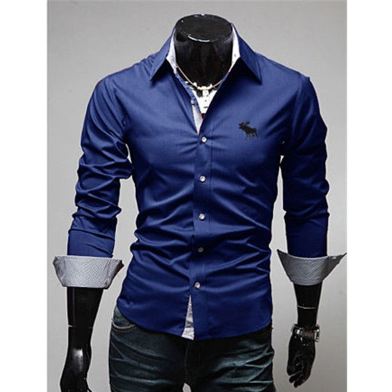 Mens Casual Slim Fit Shirt Luxury Business Stylish Dress Shirts Long Sleeve Men's  Tops Obscure Lapel