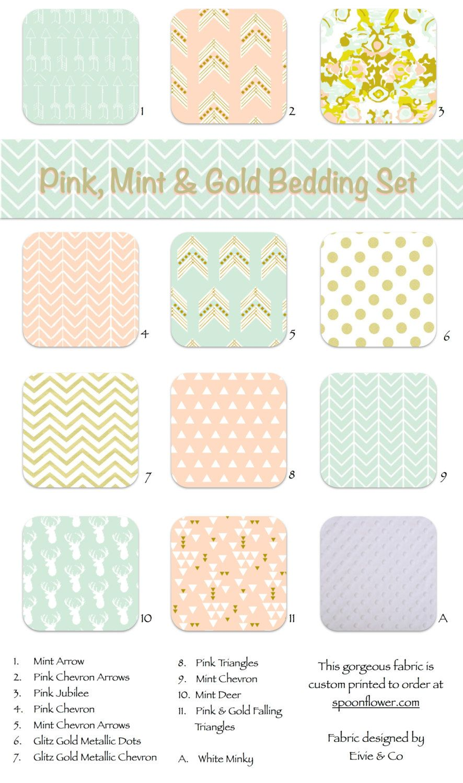 Pink Blush Peach Gold Mint Custom Crib Bedding Custom