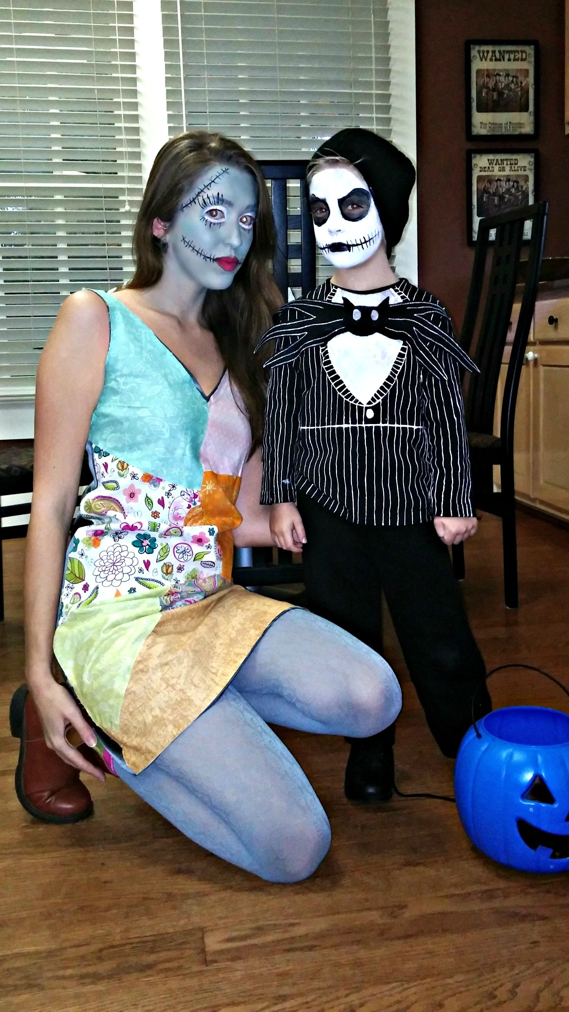 mother and son halloween costumes. jack and sally. nightmare before