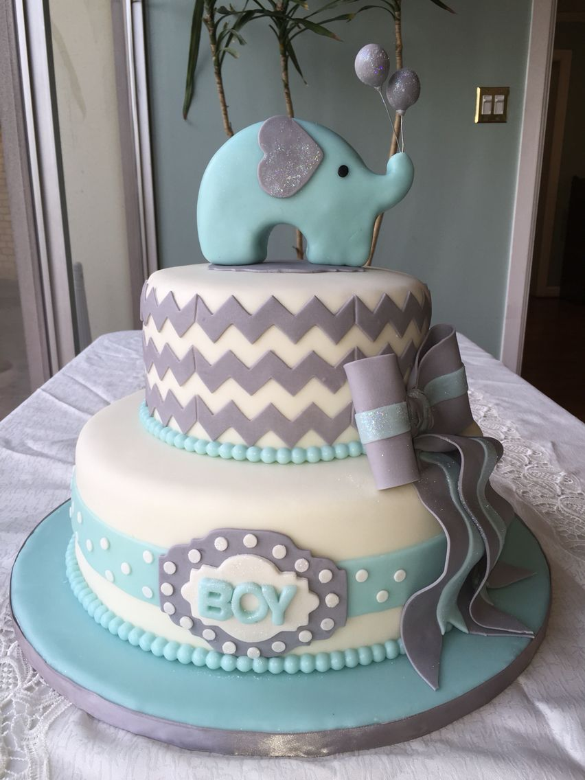 Elephant baby shower cake for Baby boy cake decoration