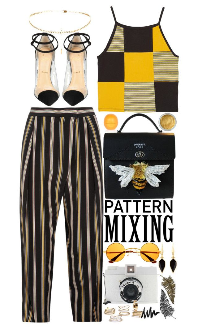 """Contest: Pattern Mixing"" by devil-in-a-new-dress ❤ liked on Polyvore featuring Monki, Chloé, Christian Louboutin, River Island, Retrò, Isabel Marant, Lomography and Paperself"